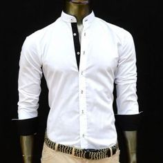 Achat Chemise homme blanche et noire col mao