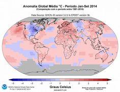 Temperatura em 2014 - o ano mais quente da historia, aquecimento global