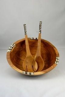 Olive Wood Round Handcrafted African Salad Bowl and Utensils