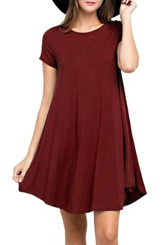 Viishow Women s Basic Short Sleeve Casual Loose T-Shirt Dress Wine Red L at  Amazon Women s Clothing store  d7bb2215333