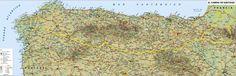"Super Size Tracking Map 38"" x 13"" (98 x 34 cm) Coming Soon ! http://www.SpanishDoor.com  #CaminoDeSantiagoMap"