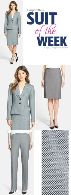 I like this summer suit from Halogen - gray and white dots, matching jacket, pant, and skirt, and it comes in petites and plus sizes (and regular sizes 0-16). Lots of Halogen suits on sale this week, actually.