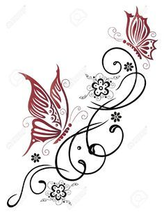 Feminine, Filigree Tribal With Flowers And Butterfly Royalty Free Cliparts, Vectors, And Stock Illustration. Image 21684004.