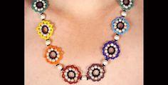 Rainbow flowers necklace N965