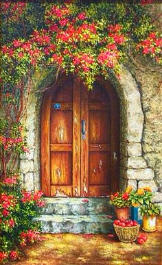 Discover some basic and simple technique of painting with our Acrylic Painting Tips - The result will impress and value added your artwork! Old Doors, Windows And Doors, Pictures To Paint, Art Pictures, Acrylic Painting Tips, Art Watercolor, Painted Doors, Wooden Doors, Painting Inspiration