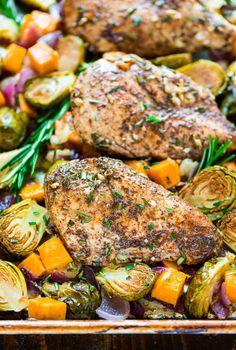 Sheet Pan Chicken with Sweet Potatoes Apples and Brussels  Mein Blog: Alles rund um die Themen Genuss & Geschmack  Kochen Backen Braten Vorspeisen Hauptgerichte und Desserts # Hashtag