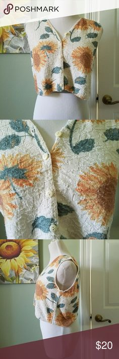 Vintage Sunflower Knit Vest Great vintage condition  Cotton poly blend No size but mannequin is size 6 for reference 955 Originals  BUNDLE your likes and shoot me and OFFER! Glad to Hundreds of items available for discounted bundle offers! Vintage Jackets & Coats Vests