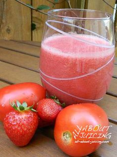 Strawberry Tomato Juice Recipe:  2 to 3 cups of strawberries + 4 tomatoes, any variety.  Pretty in pink and soooo delicious.