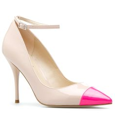 Pink Cap Toe Pump.