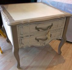 End Table Distressed White and Tan