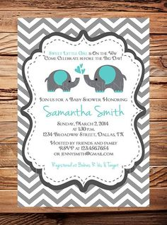 Teal elephant baby shower invitation elephant baby shower momma and baby elephant baby shower invitation aqua baby shower elephant boy girl gray yellow purple pink blue green digital filmwisefo