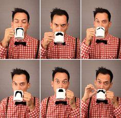 Hipster mustache mugs