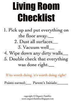 Chore checklists