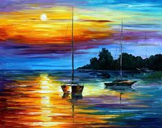Sunset Paintings by Famous Artists | FLORIDA SUNSET — PALETTE KNIFE Oil Painting On Canvas By Leonid ...