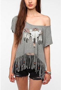 UrbanOutfitters.com > Junk Food Fringed Skull Tee. SOUTHERN CHARM. CLASSIC / ROCK