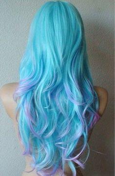 Anniversary Special Blue/ Purple wig Long wavy hair by kekeshop, Dip Dye Hair, Dye My Hair, Dip Dyed, Hair Dye Colors, Cool Hair Color, Bright Hair Colors, Mint Green Hair, Mint Blue, Mint Hair