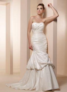 Fit & Flare Strapless Ruched Bodice Beaded Taffeta Wedding Dress-wf0013, $259.95