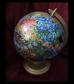 One World for Humankind painted globe.  Stands 15 door CallieArt