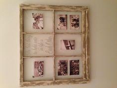 Vintage window turned picture display.