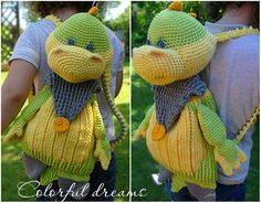 Both boys and girls can use this backpack. You can easily fit there small toys and other things of your child. Bag size: 24 cm x 21 cm. Length from head to toes: 42 cm. Besides, Dino can become a favorite toy, where your children can hide their secrets - just remove the straps. PATTERN IN PDF FORMAT! Not a toy! The pattern does not contain basic course of crocheting – you should already have the basic knowledge. The pattern includes 40 pages with description and pictures. Difficulty: easy…