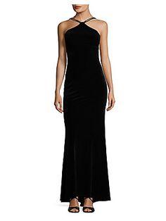 Xscape Lace-Up Velvet Ball Gown