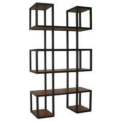Noir Block Bookcase with Metal