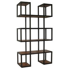 Noir Block Bookcase with Metal