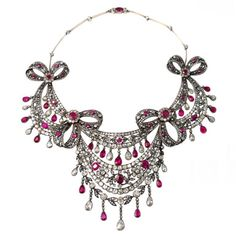 Magnificent Victorian DIamond Ruby Swag Necklace
