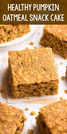 Healthy Pumpkin Oatmeal Snack Cake – only 99 calories! It tastes like pumpkin pie & is SO easy to make! (No mixer required!) Totally kid approved too! ♡ homemade snack cake. clean eating pumpkin snack for kids. quick greek yogurt oatmeal snack cake. Healthy Sweets, Healthy Dessert Recipes, Healthy Baking, Gourmet Recipes, Healthier Desserts, Healthy Pumpkin Desserts, Recipes Dinner, Healthy Snacks, Oatmeal Cake