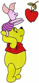 winnie pooh piglet apple embroidery. Machine embroidery design. www.embroideres.com