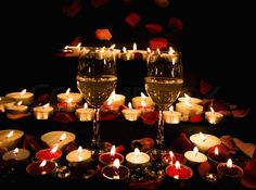 Romantic Candles And Wine Romantic wine glasses Romantic Table Setting, Romantic Candles, Romantic Gifts, Romantic Decorations, Romantic Room, Romantic Things, Candles With Jewelry Inside, Jewelry Candles, Red Rose Petals