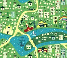 cartoon map of moscow fabric by anastasiia-ku on Spoonflower - custom fabric