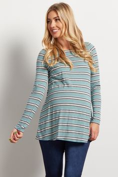 804caabe05afed Mint Striped Long Sleeve Ribbed Maternity Top