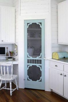 Love this idea for a kitchen. Replace Pantry Door with a Screen Door and Paint it a Cheerful Light Hue.