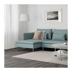 SÖDERHAMN 3er-Sofa und Récamiere - Finnsta türkis - IKEA