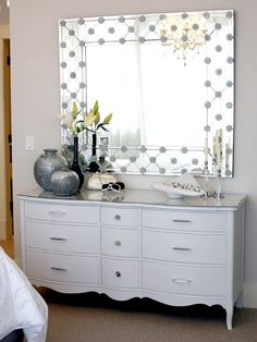 "etched ""frame""; sprayed thrift shop dresser w/ glass or mirror top cut to fit  --  Master Bedroom   Sarah Richardson Design"