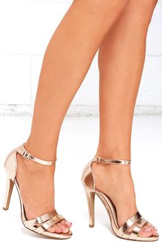 Spark to Flame Rose Gold Ankle Strap Heels at Lulus.com!