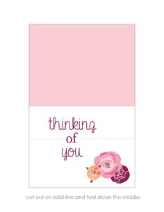 """""""Thinking of you"""" card free printable"""