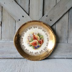 Vintage Antique Round Serving Plate with Gold and Floral Fruit Design French Country Shabby Chic Farmhouse