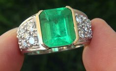 A Stunning GIA Ct Men's Natural Emerald Diamond Platinum and Gold Gents Ring – Gorgeous Gems and Jewelry Mens Emerald Rings, Emerald Gemstone, Emerald Diamond, Diamond Rings, Gold Rings, Unique Rings, Beautiful Rings, Wedding Ring Finger, Men's Jewelry Rings