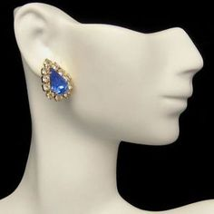 Large Blue Teardrop Rhinestone Earrings from #MyClassicJewelry on eBay. Great for a formal occasion or wedding!  http://stores.ebay.com/My-Classic-Jewelry-Shop