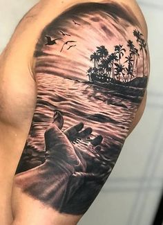 This piece represents life. I hope you like. Powered by Silvano Fiato black wash set… tattoo ink Palm Tattoos, Sunset Tattoos, Ocean Tattoos, Nature Tattoos, Forearm Tattoos, Body Art Tattoos, Maori Tattoos, Beach Theme Tattoos, Tatoos