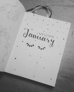 Bullet journal monthly cover page, January cover page, eye drawing. Bullet Journal Ideas 2018, January Bullet Journal, Bullet Journal Monthly Spread, Bullet Journal Cover Page, Bullet Journal Inspo, Bullet Journal Layout, Journal Pages, Bujo Planner, Planner Diario