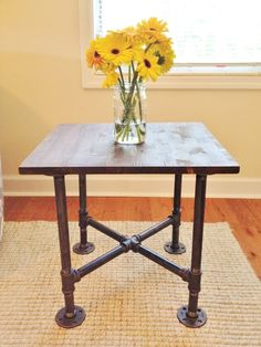 Table, End Table, Night Stand, Bedside Table, Accent Table, Handmade Table, Industrial Table, Wooden Table, Nightstand, Small Table | blackironfurniture - Furniture on ArtFire