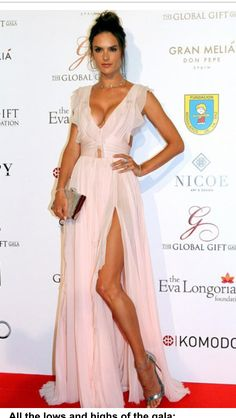 Sexy senorita Alessandra Ambrosio shows her cleavage in floaty pink gown as she dazzles at Global Gift Gala in Marbella Pink Gowns, Pink Dress, Dress Up, Alessandra Ambrosio, Gown Photos, Gorgeous Fabrics, Celebrity Look, Big Fashion, Instagram