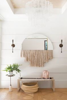 Mirror with soft furnishings