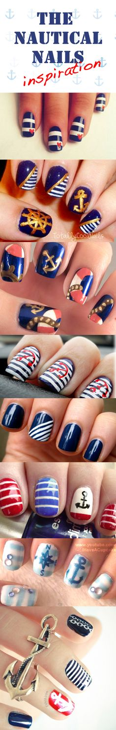The nautical nails inspiration #nautical #navy #stripes #anchor #nailart