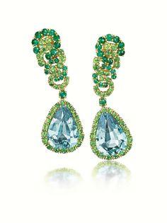 Fulco di VERDURA. 'Cascade' earclips. Gold, aquamarine, emerald and tsavorite garnet. Price on request. Courtesy Verdura Jewellery