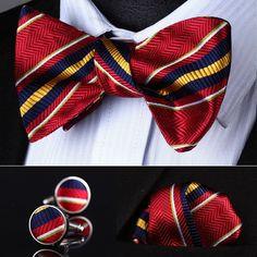 BZS05R Red Yellow Striped Men Silk Self Bow Tie handkerchief Cufflinks set