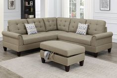 Poundex F6476 3 pc Biloxi II beige polyfiber fabric sectional sofa and storage ottoman